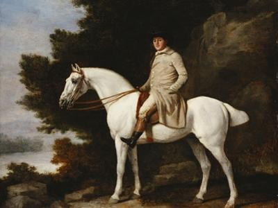 A Gentleman on a Grey Horse in a Rocky Wooded Landscape, 1781 by George Stubbs
