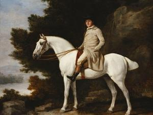 A Gentleman on a Grey Horse in a Rocky Wooded Landscape by George Stubbs