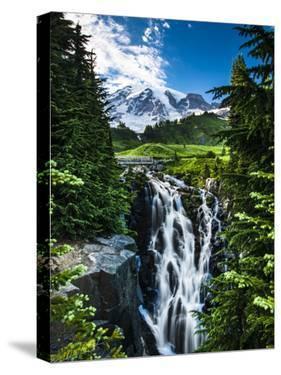 USA, Washington State, Mount Rainier National Park, Mount Rainier, waterfall by George Theodore