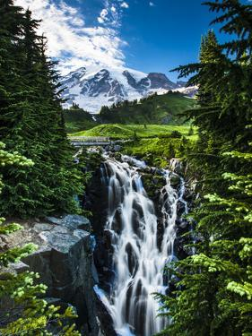 USA, Washington State, Mount Rainier National Park, Mount Rainier, waterfall by George Theodore