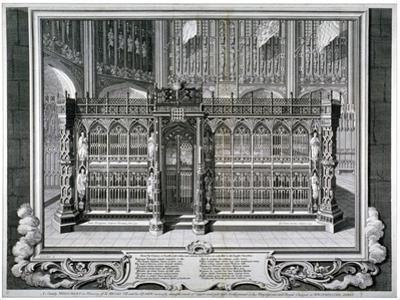 Monument to Henry VII and Queen Elizabeth in the King's Chapel, Westminster Abbey, London, 1735 by George Vertue