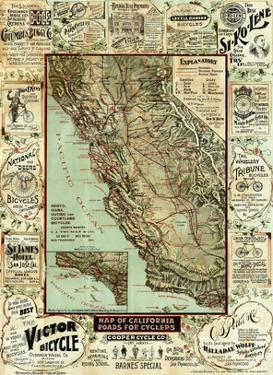 Map of California Roads for Cyclers, c.1896 by George W. Blum