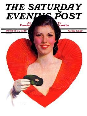 """""""Halloween Party-Goer,"""" Saturday Evening Post Cover, October 31, 1936 by George W. Gage"""