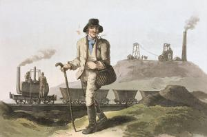 Blenkinsop Locomotive at Middleton Colliery Near Leeds, Costume of Yorkshire Engraved Havell by George Walker