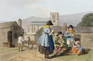 Wensleydale Knitters, from Costume of Yorkshire Engraved by Robert Havell by George Walker