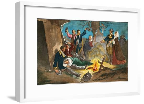 George Washington and Wife Visiting Troops--Framed Giclee Print