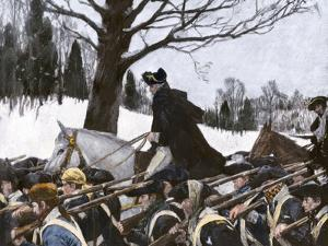 George Washington Marching the Continental Army to Valley Forge Winter Camp