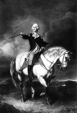 George Washington (Receiving a Salute on the Field of Trenton) Art Poster Print