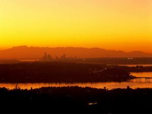 Seattle Skyline- Olympic Mountains, WA by George White Jr.