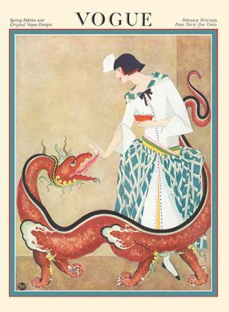 Vogue Magazine - February 1923 - Woman Feeding a Chinese Dragon