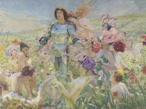 Le chevalier aux fleurs (tiré de Wagner, Parsifal) by Georges Antoine Rochegrosse