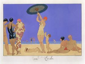 At the Lido, Engraved by Henri Reidel, 1920 (Litho) by Georges Barbier