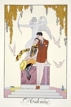 Autumn, from 'Falbalas and Fanfreluches, Almanach des Modes Présentes, Passées et Futures', 1926 by Georges Barbier