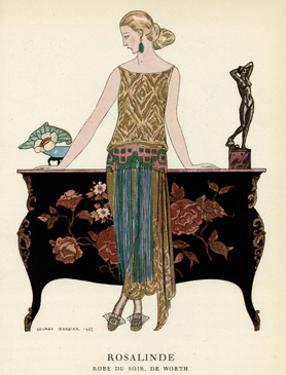 Elegant Woman in Visiting Dress 1922 by Georges Barbier