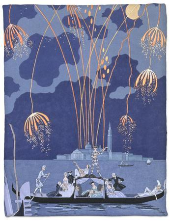 "Fireworks in Venice, Illustration for ""Fetes Galantes"" by Paul Verlaine 1924 by Georges Barbier"