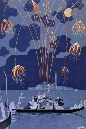 Fireworks in Venice, Illustration for Fetes Galantes by Paul Verlaine 1924