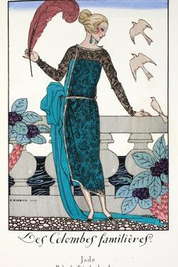 Les Colombes Familieres - Jade - Evening Gown de Chez Jenny 1920 by Georges Barbier