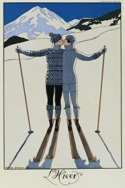 Lovers in the Snow by Georges Barbier