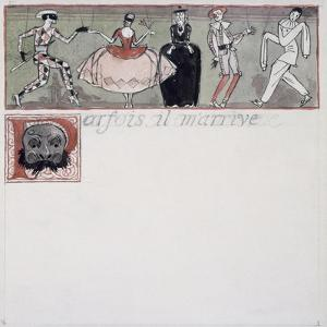 Parfois Il M'Arrive' (Ink and W/C on Paper) by Georges Barbier