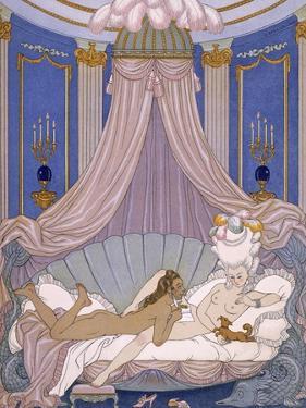 Scene from 'Les Liaisons Dangereuses' by Pierre Chodlerlos De Laclos by Georges Barbier