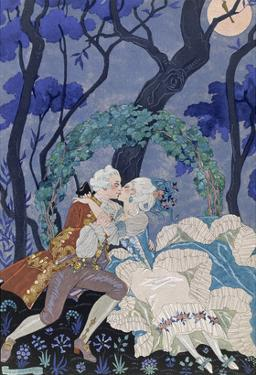 Secret Kiss, Illustration for 'Fetes Galantes' by Paul Verlaine (1844-96) 1928 (Pochoir Print) by Georges Barbier
