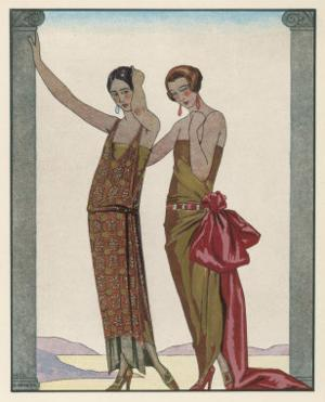 Strapless Gold Dress Draped up Over One Hip and Tied with a Large Sash Bow Which Creates a Train by Georges Barbier