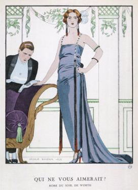 Tubular Grey Evening Gown by Worth with Any Fullness Drawn Over One Hip by Georges Barbier
