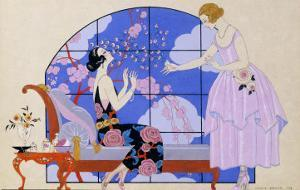 Two Ladies in a Salon, 1924 by Georges Barbier