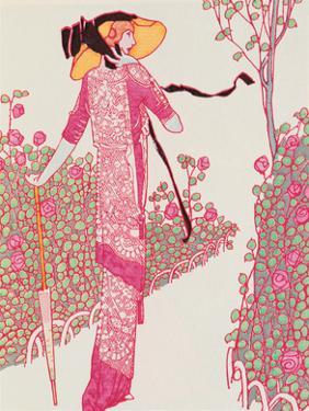 Woman In Pink Dress by Georges Barbier