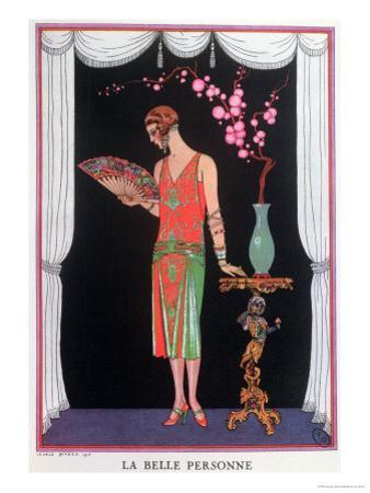 Worth Evening Dress, Fashion Plate from Gazette Du Bon Ton, 1925 by Georges Barbier