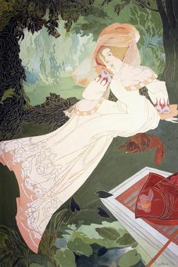 An Elegant Lady with a Dog by Georges de Feure