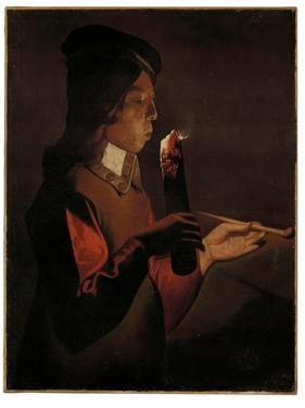 A young boy with a pipe, blowing on a firebrand by Georges De La Tour