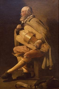Hurdy-Gurdy Player with Bag by Georges de La Tour