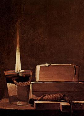 Kerze und Bucher Candlelight Study by Georges de La Tour