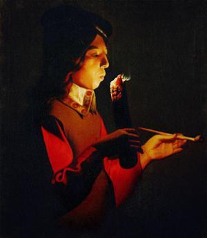Le souffleur a la pipe-Boy blowingon a Firebrand, 1645 by Georges de La Tour