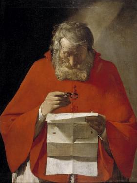 Saint Jerome Reading a Letter, Ca. 1628-1629 by Georges de La Tour