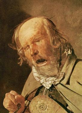 The hurdy-gurdy player, detail of the head, c.1620-25 by Georges de la Tour