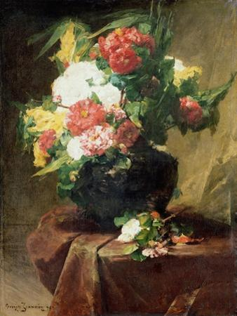 Peonies in a Vase on a Draped Table. 1895