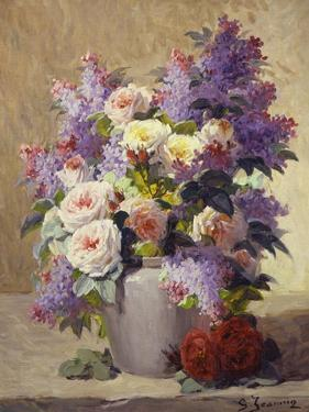 Still Life of Roses and Lilacs by Georges Jeannin