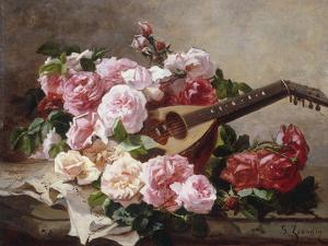 Still Life with Roses and Mandolin by Georges Jeannin