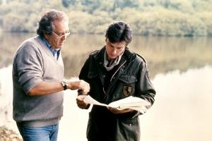 """Georges Lautner and Alain Delon on set of film """"Death of a Corrupt Man"""", 1977 (photo)"""