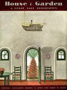 House & Garden Cover - April 1931 by Georges Lepape