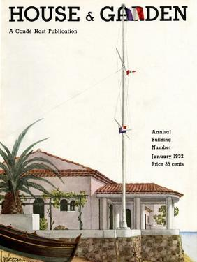 House & Garden Cover - January 1932 by Georges Lepape