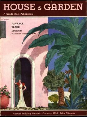 House & Garden Cover - January 1933 by Georges Lepape