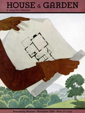 House & Garden Cover - November 1934 by Georges Lepape