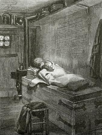 Gwynplaine and Dea Sleeping on a Chest - Illustration from L'Homme Qui Rit, 19th Century