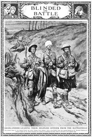 Highlanders Leading their Blinded Officer, WW1
