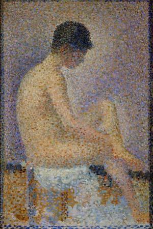 "Poseuse de profil-Sitting model, profile, 1887 Sketch for "" Les poseuses"" -the models. by Georges Seurat"