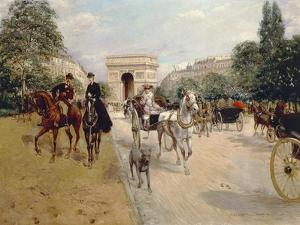 Riders and Coaches on Bois De Boulogne Avenue in Paris with the Arc De Triomphe in the Background by Georges Stein