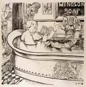 Queen Victoria Cartoon: in Her Bath with John Brown in Attendance by Georges Tiret-Bognet